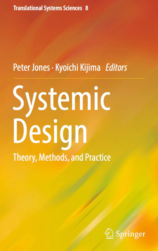 Systemic Design theory, methods, and practice book cover with colourful painted background