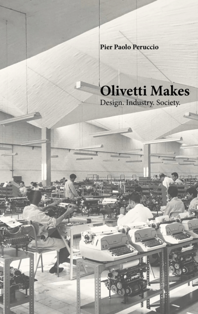 Book cover of factory workers producing Olivetti typewriters